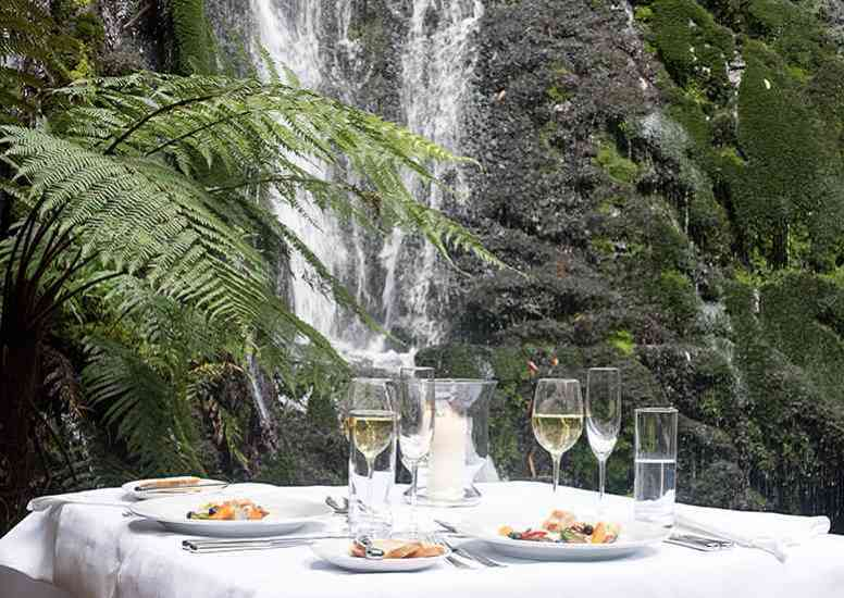 offer1 treetops lodge estate bridal veil dining under the waterfall landscape
